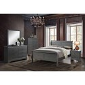 Furniture of America Louis Philippe III Queen Bed and 1NS and Dresser and Mirror - Item Number: CM7866GY-Q-4PC