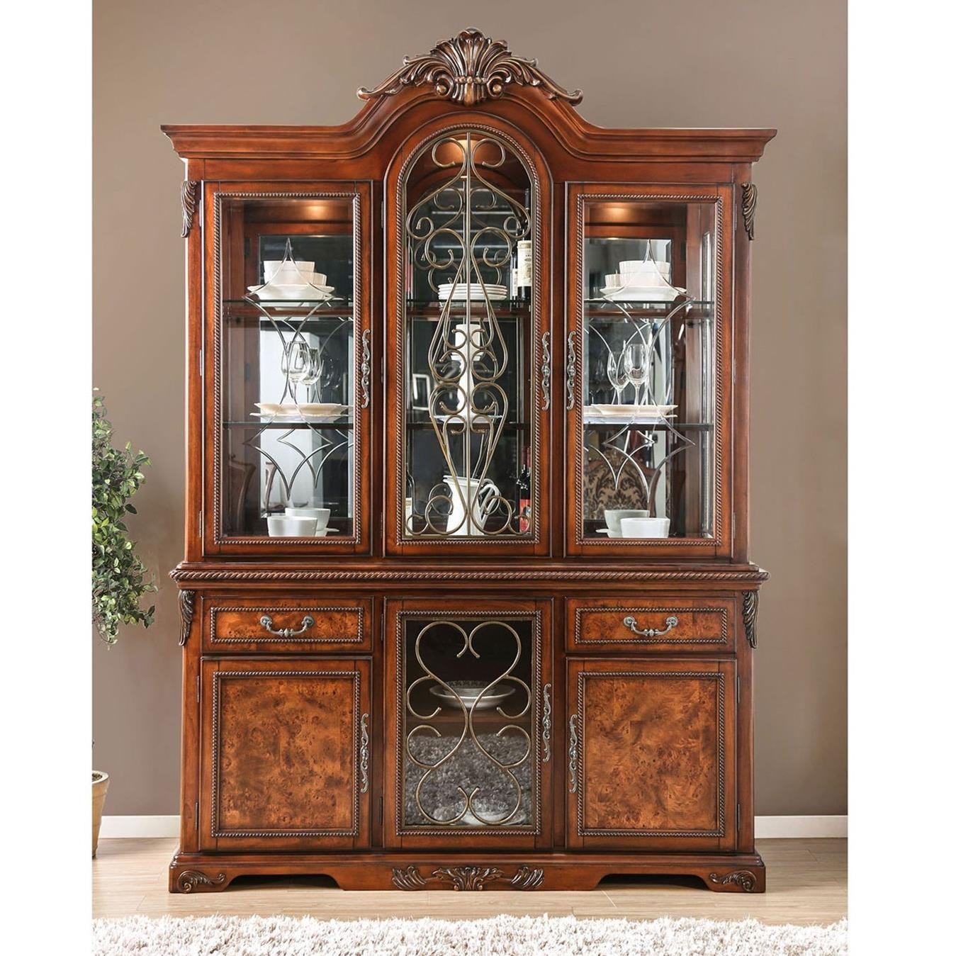 Furniture Of America Lucie Traditional Hutch Buffet With Lighting