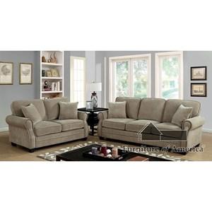 Furniture of America Lynne Sofa + Love Seat