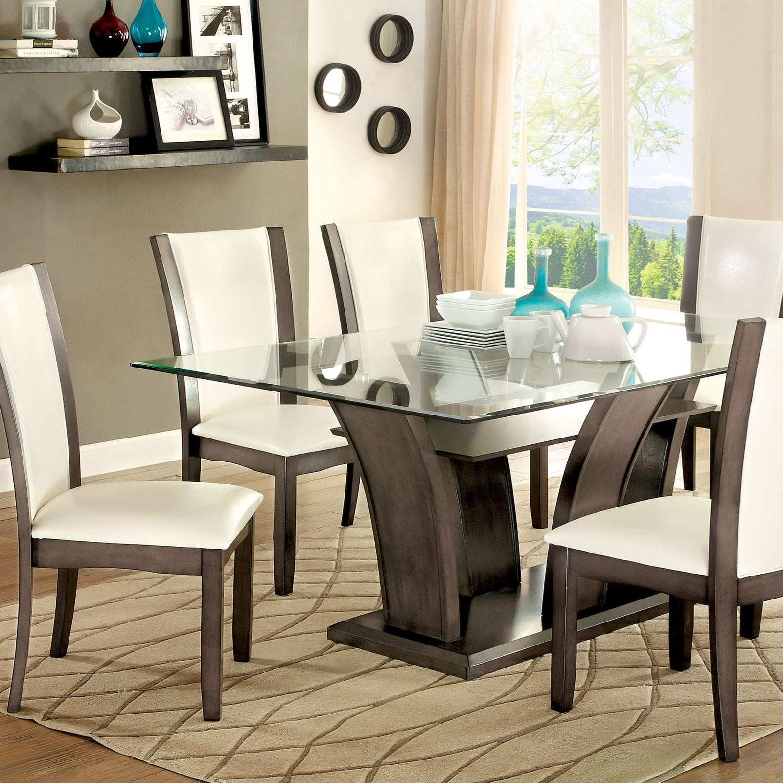 Picture of: Furniture Of America Foa Manhattan I Ii Cm3710gy T Table Transitional Rectangular Dining Table With Glass Top Del Sol Furniture Dining Tables