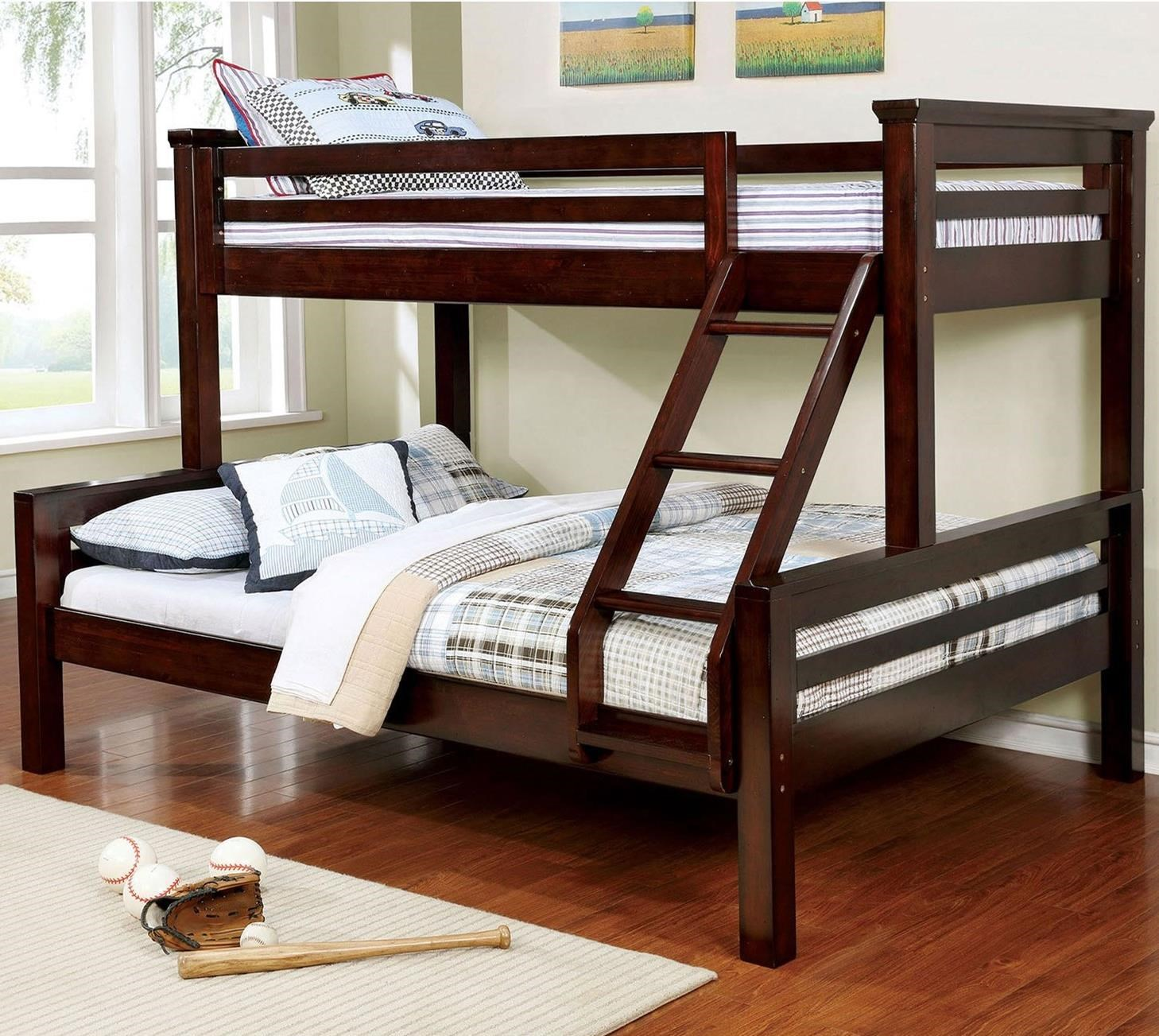 Picture of: Furniture Of America Marcie Cm Bk450tq Bed Extra Large Twin Over Queen Youth Bunk Bed Corner Furniture Bunk Beds