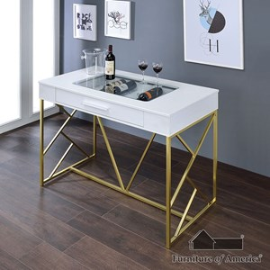 Furniture of America Mckinney Counter Ht Wine Table, Wh/Cpn
