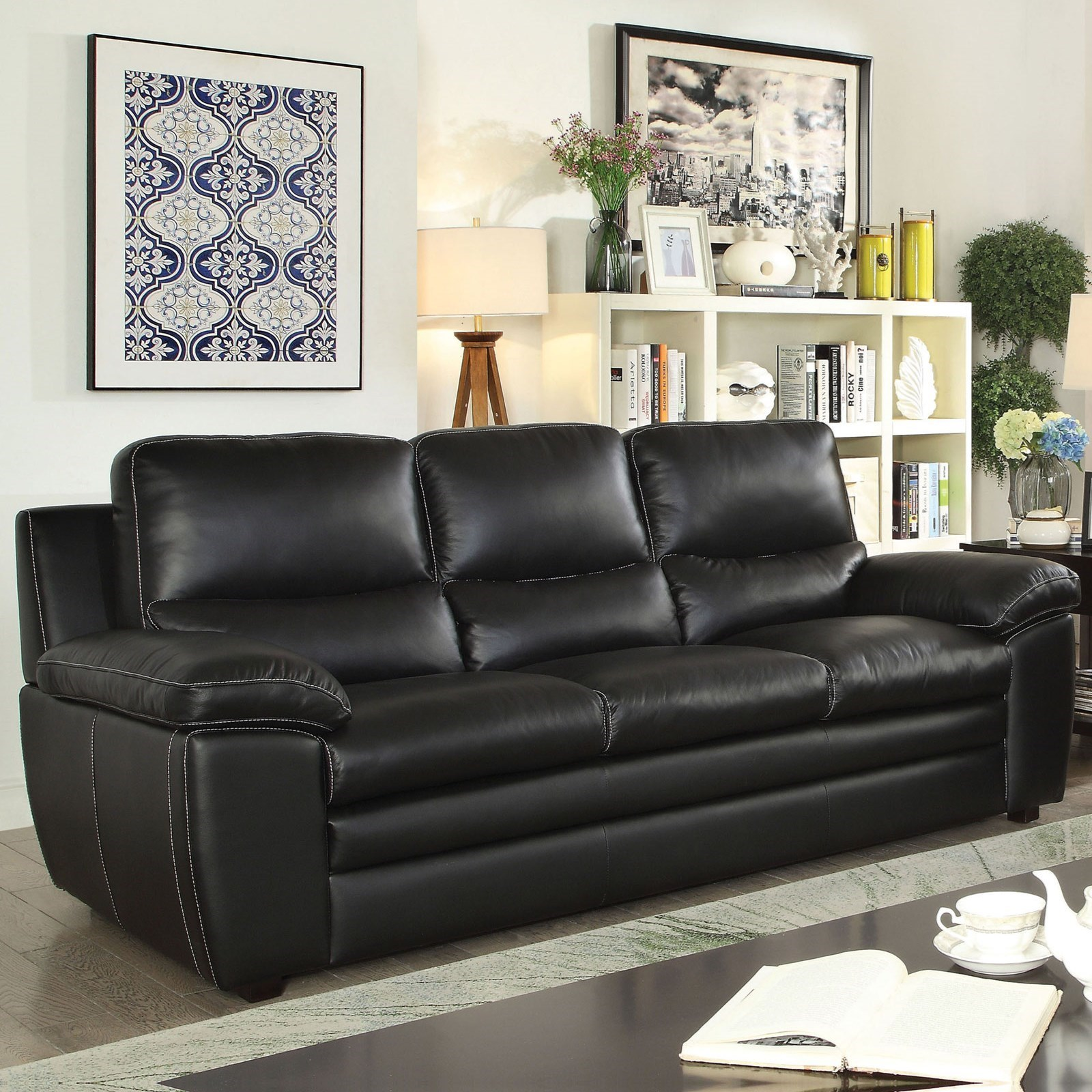 Furniture of America Mirielle Casual Leather Match Sofa | Rooms for ...