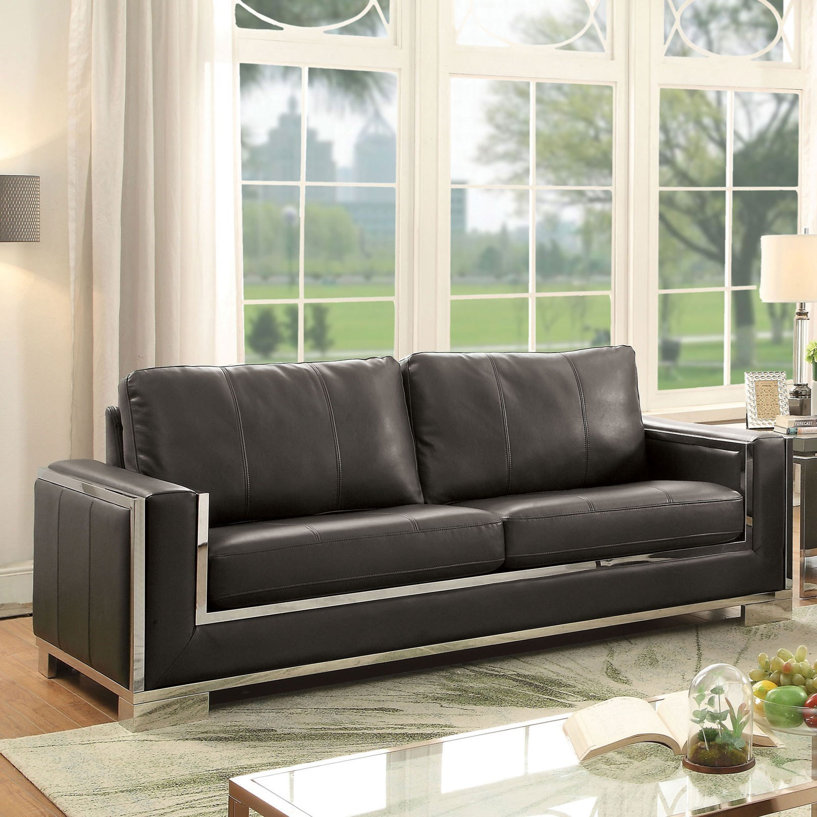 Furniture of America Monika Contemporary Sofa with Stainless Steel ...