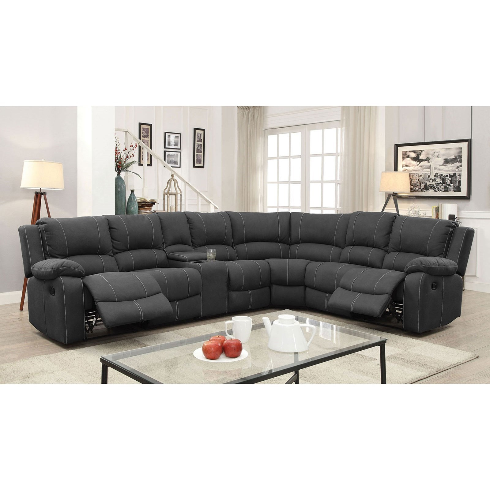 Living Room Furniture Ct: Furniture Of America Monique 5 Seat Reclining Sectional