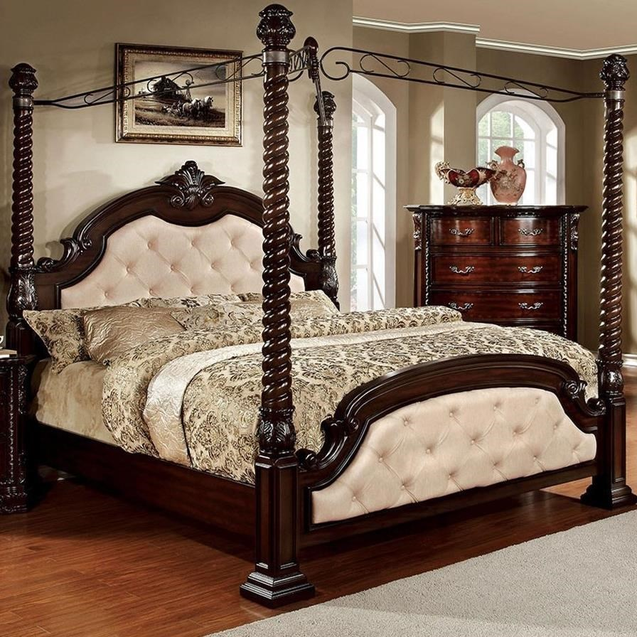Furniture Of America Monte Vista I Traditional King Canopy Bed With