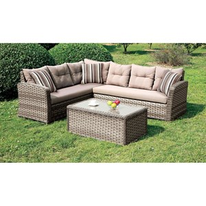 Furniture of America Moura Patio Sectional + Table