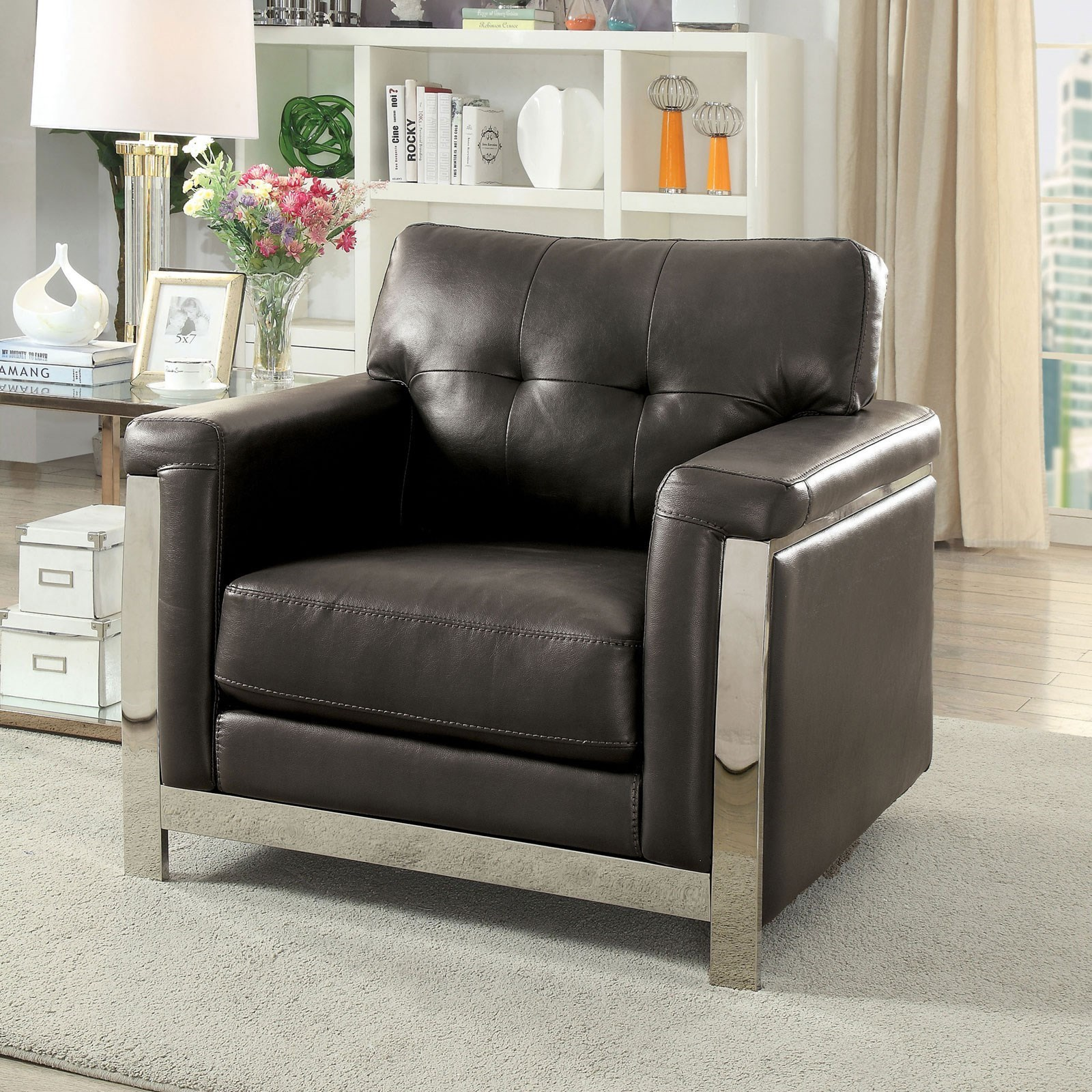 Furniture of America Nanette Contemporary Chair with Stainless Steel ...