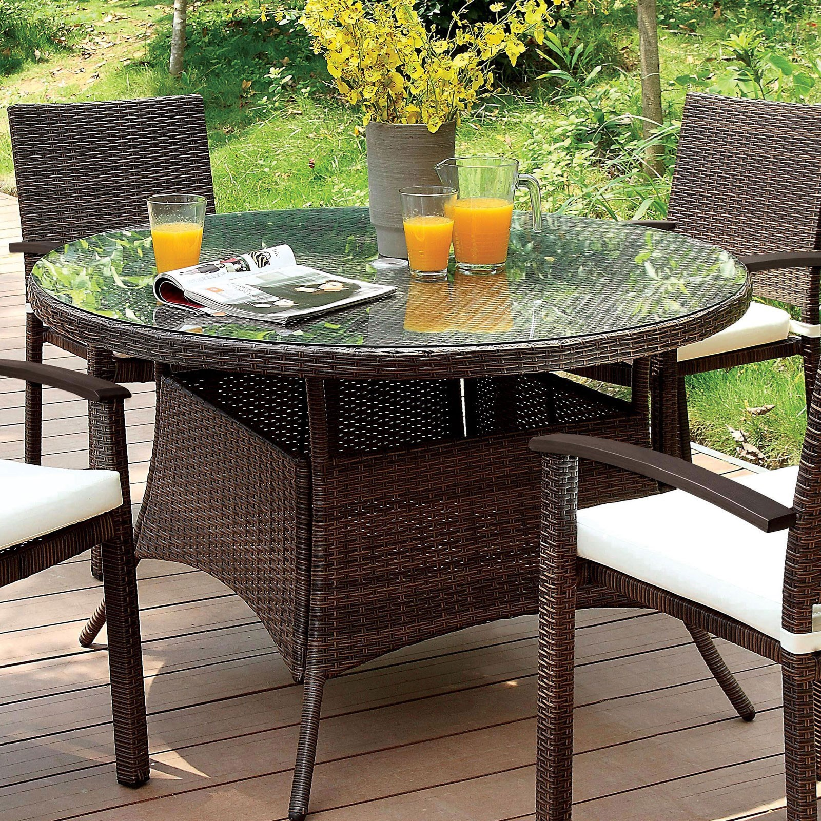 Furniture Of America Shania Cm Ot1853 Rt Outdoor Patio Round Dining Table With Glass Top Corner Furniture Outdoor Dining Table