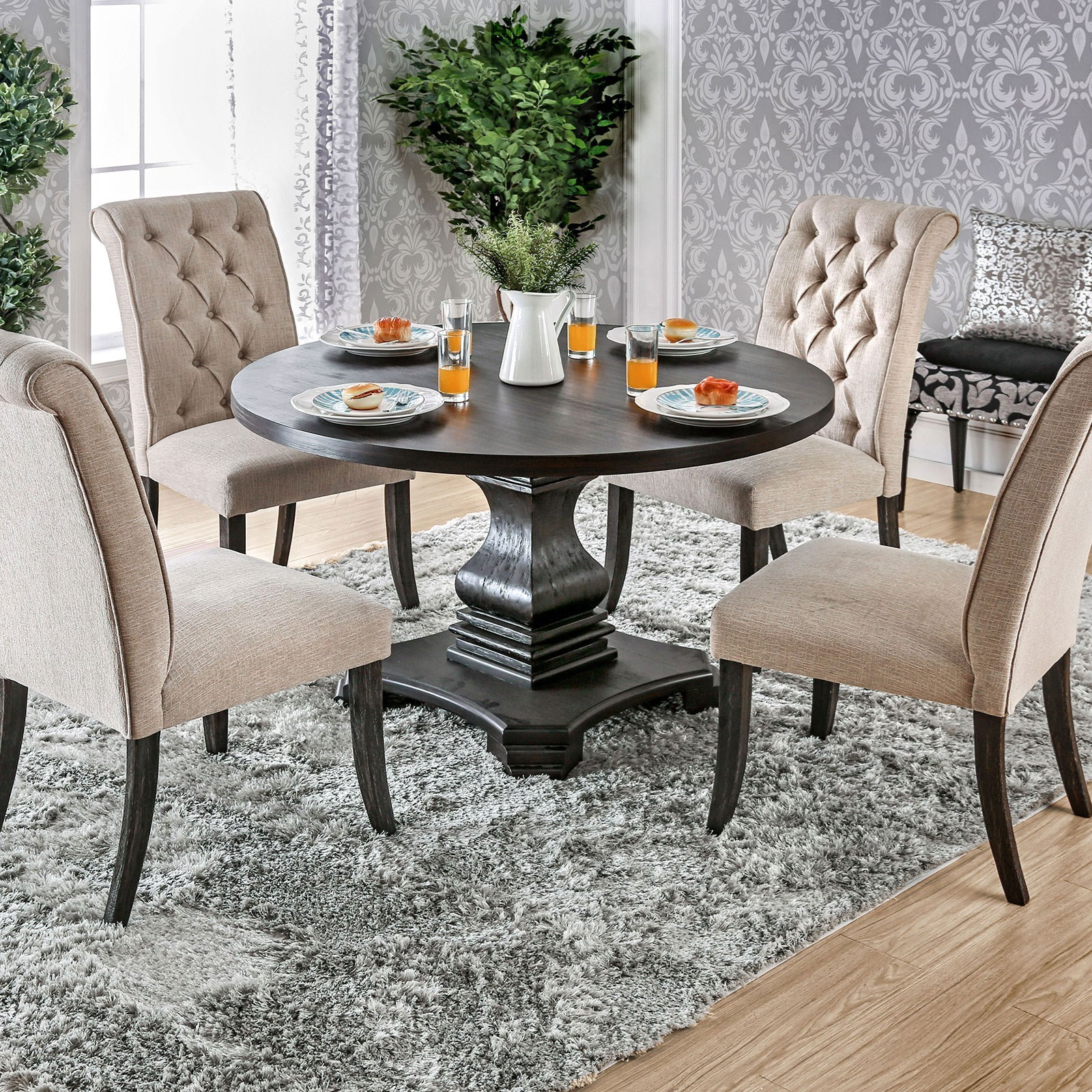 Furniture Of America Foa Nerissa Cm3840rt Table Vintage Style Round Dining Del Sol Tables