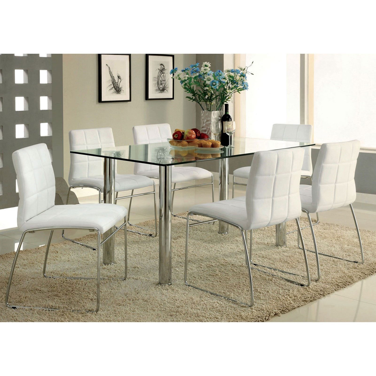 Furniture Of America Oahu Glass Top Dining Table