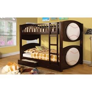 Furniture of America Olympic II Twin/Twin Bunk Bed w/ 2 Drawers, Baseball-Th
