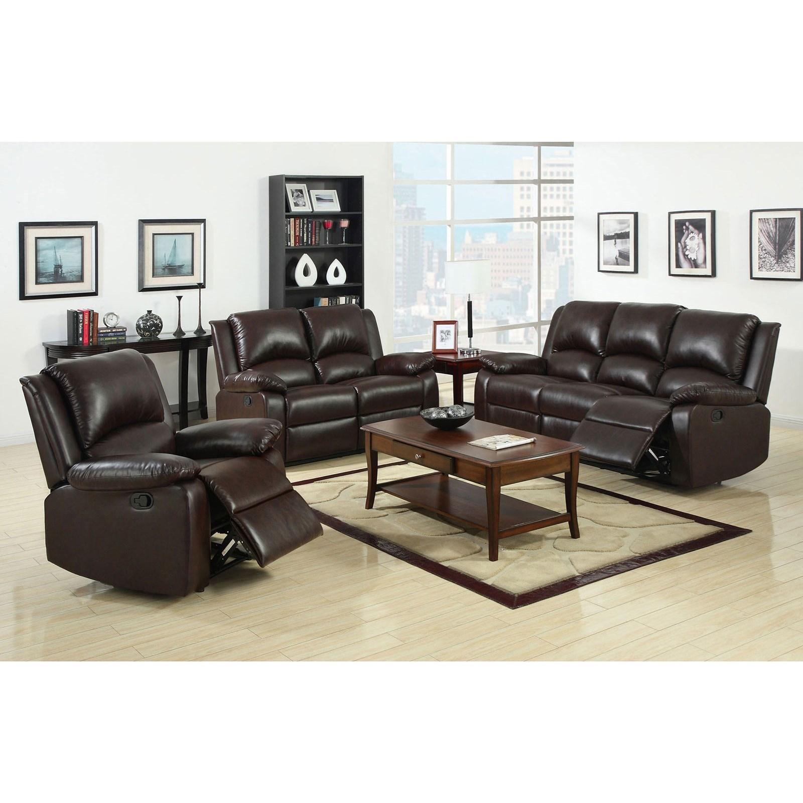 Furniture of America Oxford Three Piece Reclining Living Room Set ...