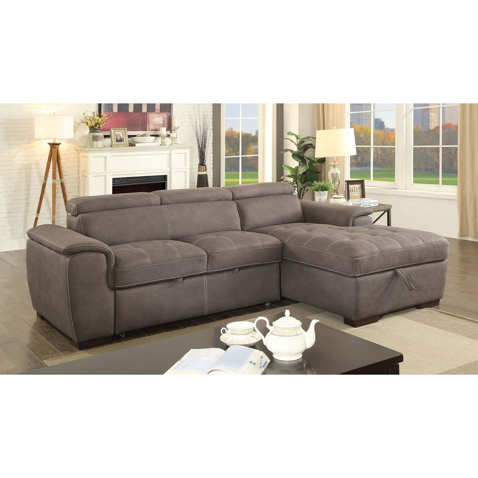 Furniture Of America Patty Sofa Sectional With Pull Out Sleeper And