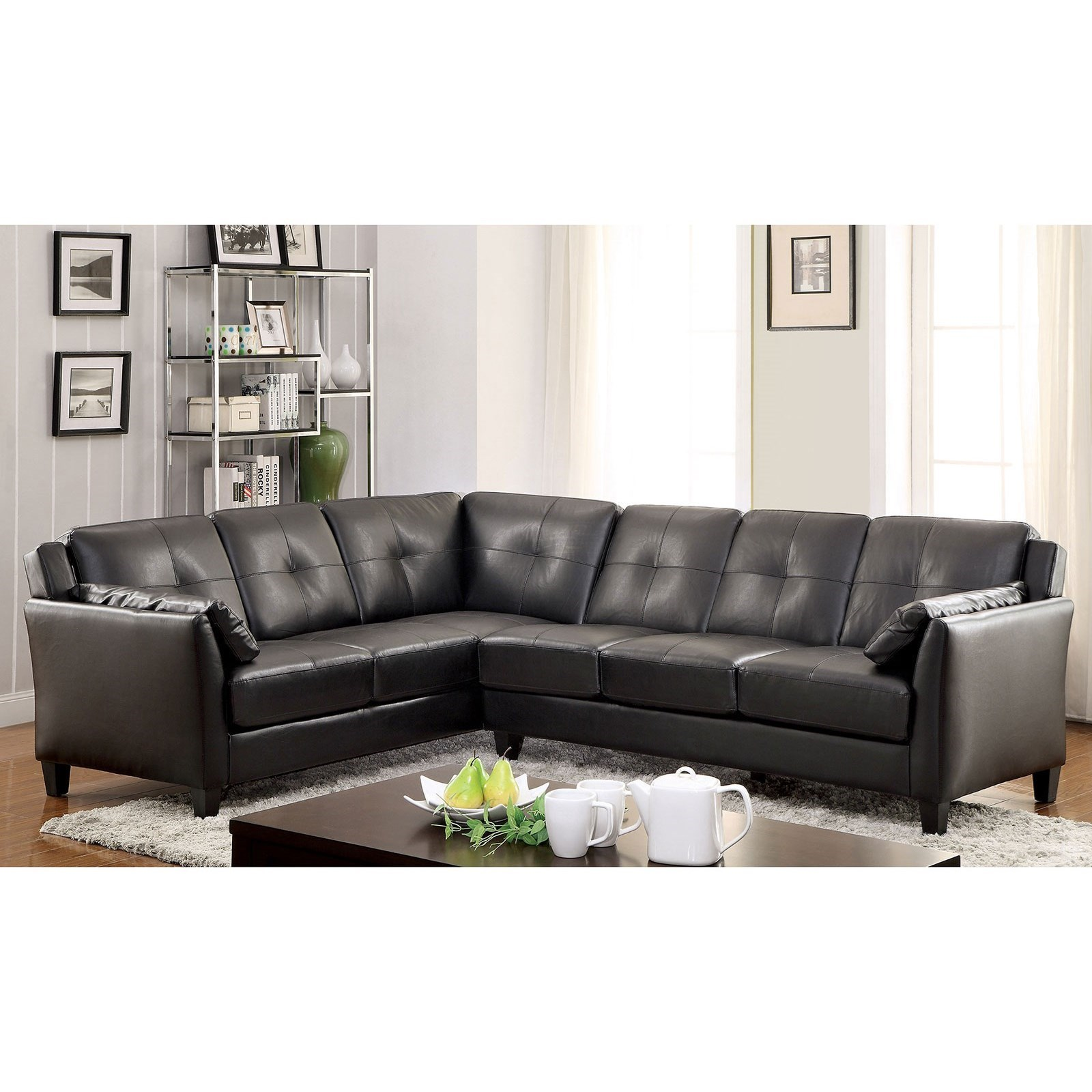 Furniture Of America Peever I Faux Leather Sectional Sofa With