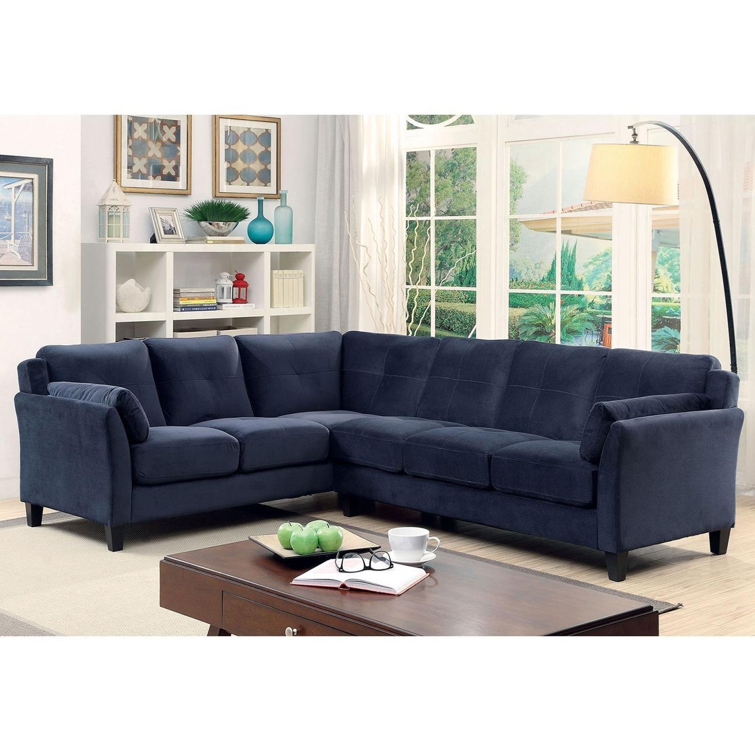 Furniture of America Peever II Modern Sectional Sofa with Flared ...