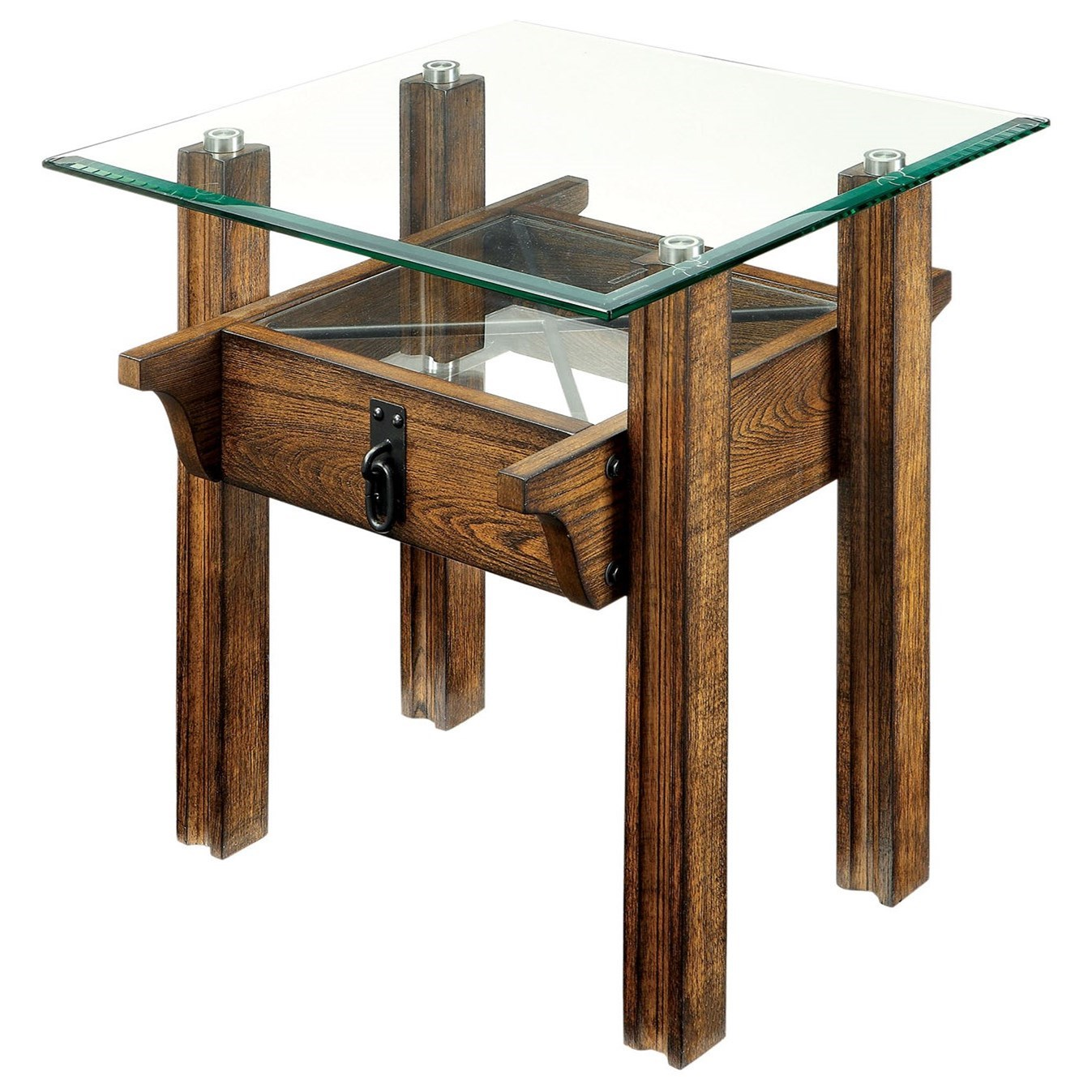 Furniture Of America Penny Rustic Industrial End Table With Glass