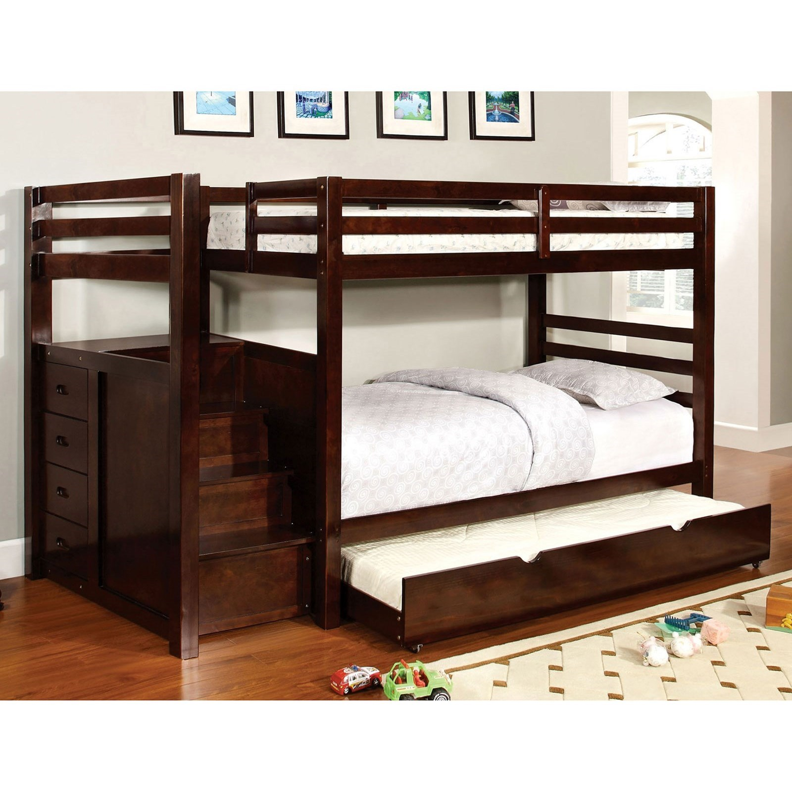 Furniture Of America Pine Ridge Twin Twin Bunk Bed W Steps Drawers