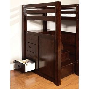 Furniture of America Pine Ridge Twin/Twin Bunk Bed w/ Steps Drawers