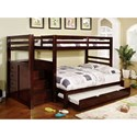 Furniture of America Pine Ridge Twin/Full Bunk Bed w/ Steps Drawers - Item Number: CM-BK966F-BED