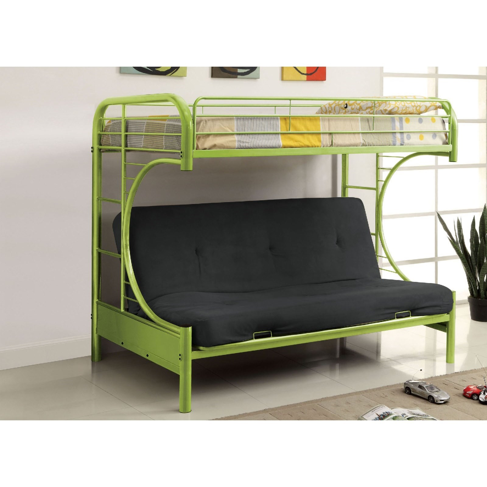 Rainbow Twin Loft Bed With Futon Base By Furniture Of America At Rooms For Less