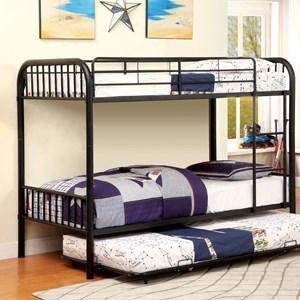 Metal Twin/Twin Bunk Bed w/ Trundle