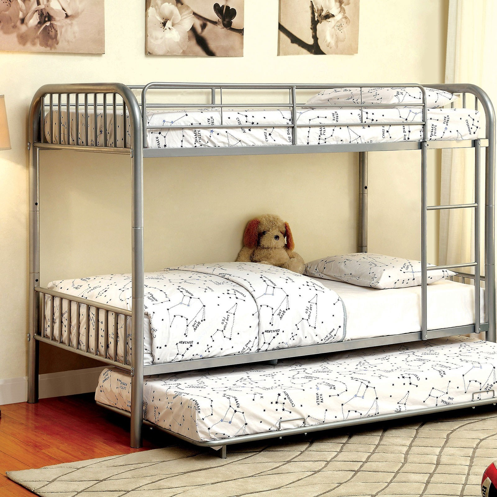 Rainbow Metal Twin Bunk Bed W Trundle By Furniture Of America At Rooms For Less