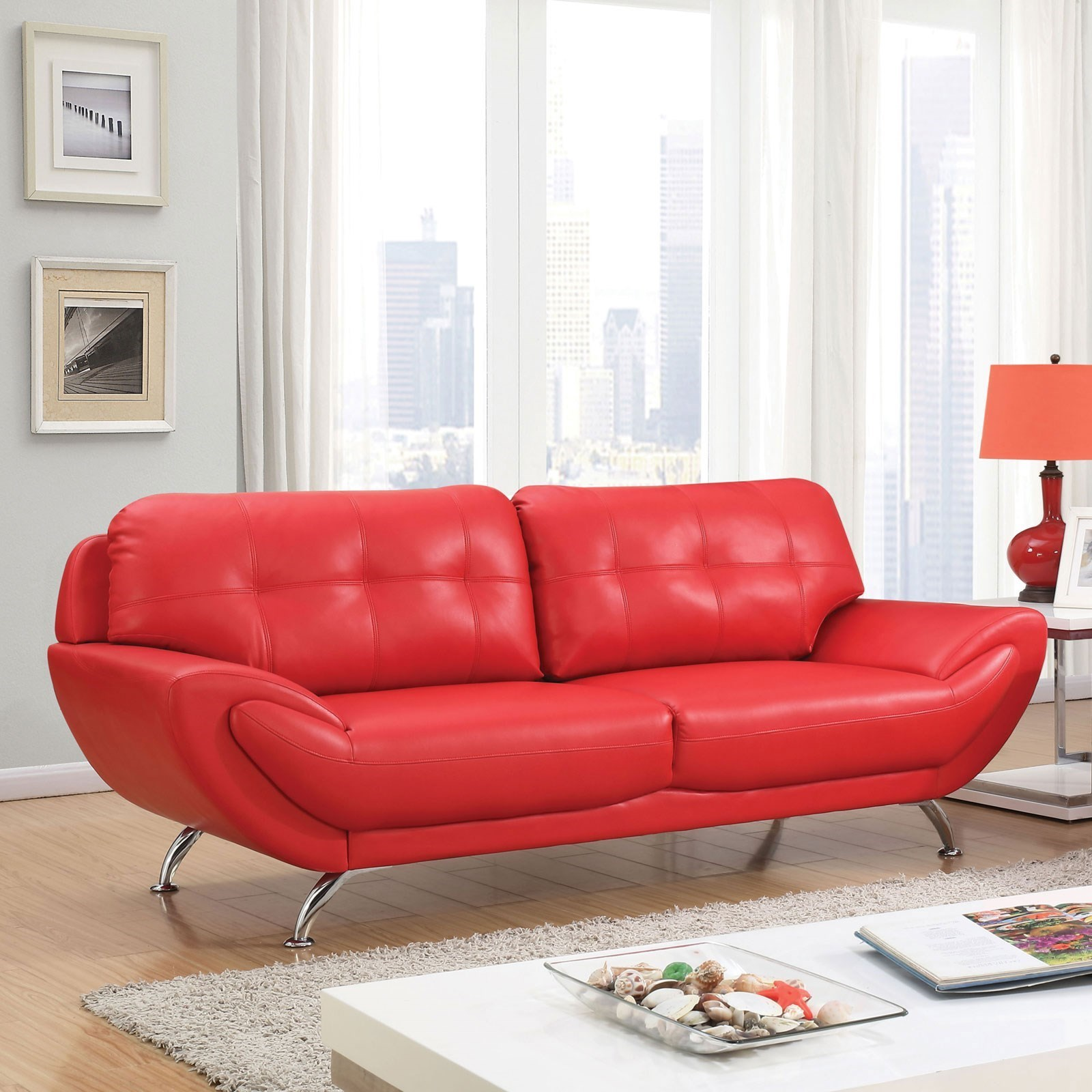 Furniture of America Reanna Contemporary Sofa with Tufted Back ...