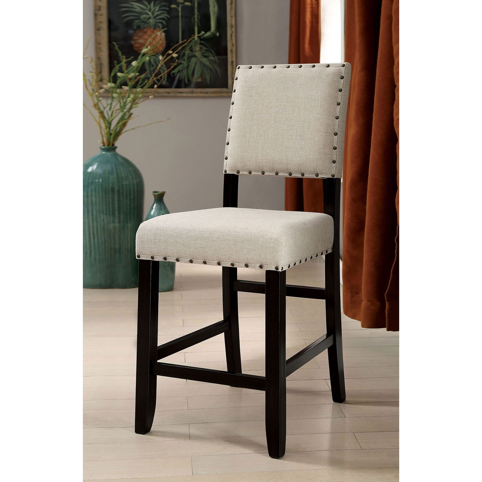 Pleasant Sania Ii Rustic Counter Height Chair 2 Pack With Nailhead Trim By Furniture Of America At Rooms For Less Cjindustries Chair Design For Home Cjindustriesco