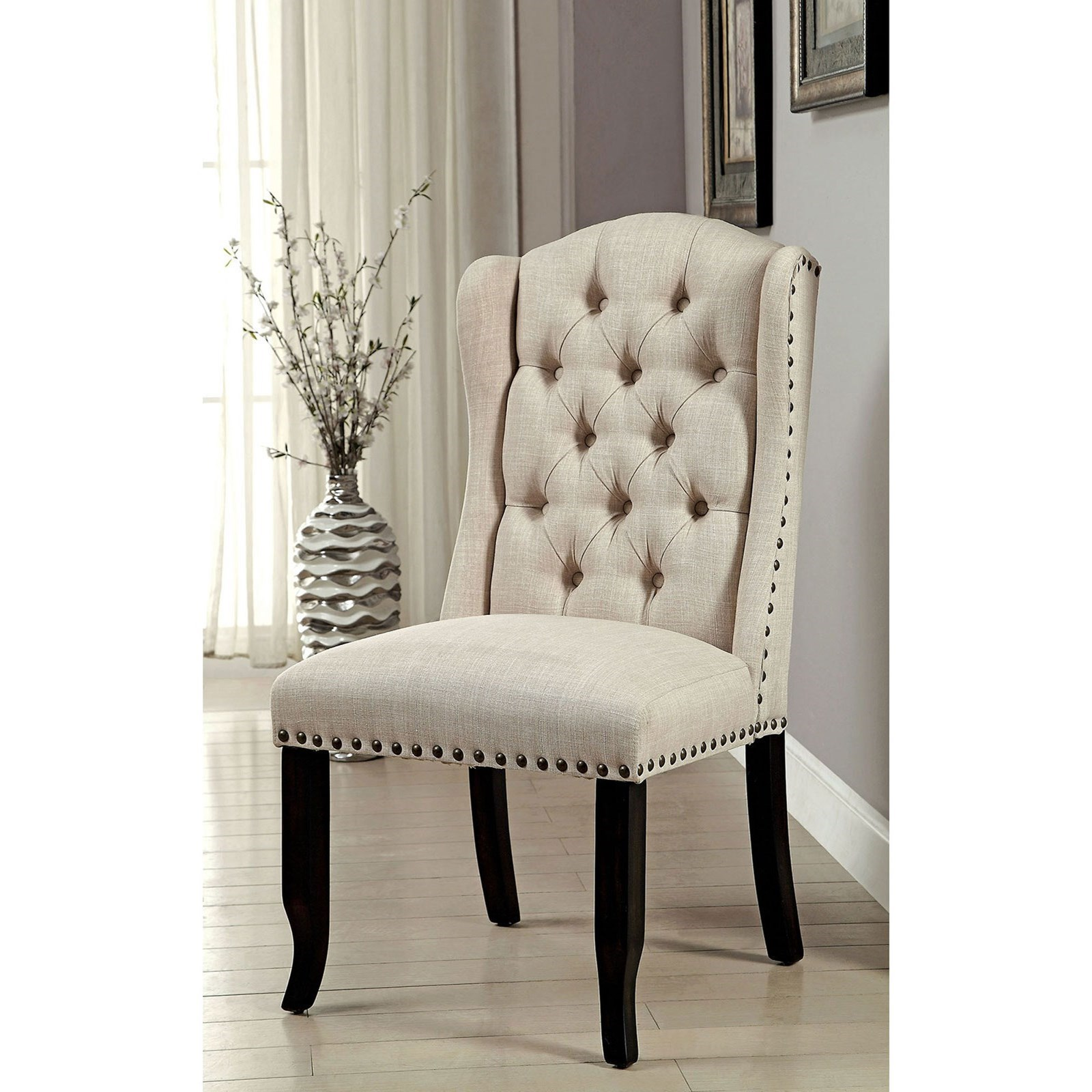 Furniture Of America Sania I Cm3324bk Sc 2pk Transitional Side Chair 2 Pack With Tufted Back And Nailhead Trim Corner Furniture Dining Side Chairs
