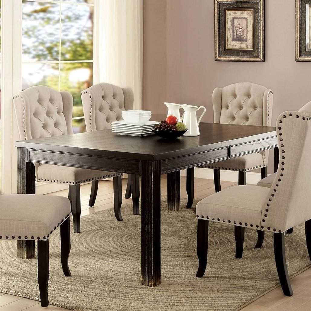 Grindleburg Dining Room Table Round: America Sania I CM3324BK-T Rustic Rectangular Dining Table