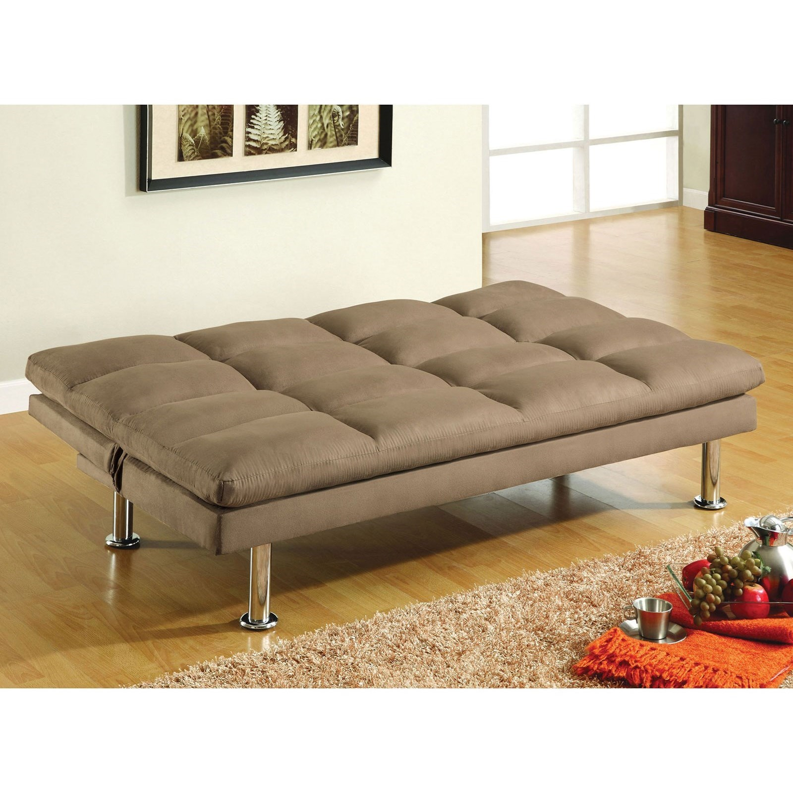 Furniture Of America Saratoga Microfiber Futon Sofa Light