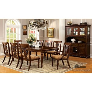 Furniture of America Seymour Table + 2 Arm Chairs + 6 Side Chairs