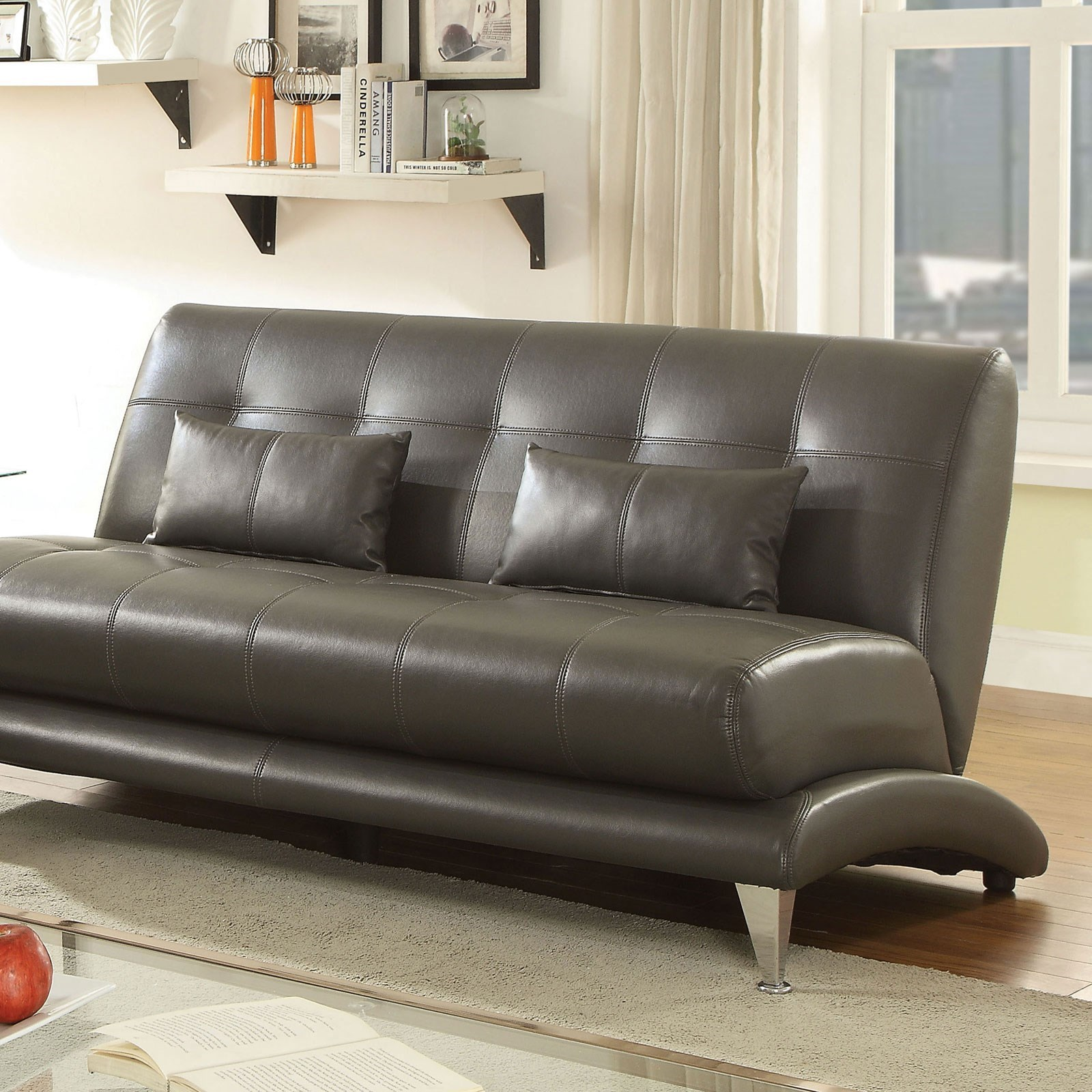 Furniture of America Sherri Contemporary Tufted Sofa with Pillows ...