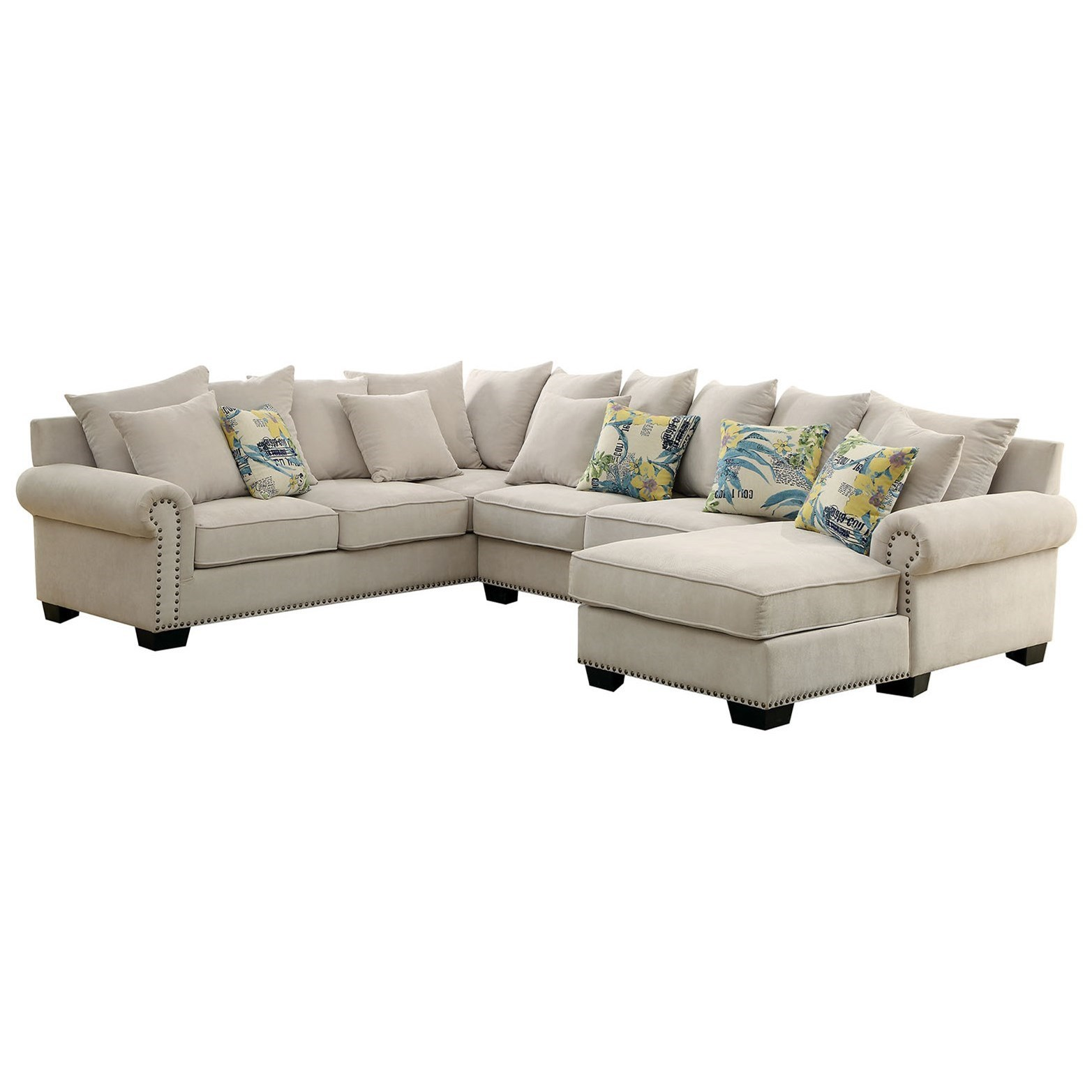 Skyler 3 Piece Sectional Sofa with Scattered Back Pillows and Nailhead Trim  by Furniture of America at Rooms for Less