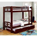 Furniture of America Solpine Twin/Twin Bunk Bed - Item Number: CM-BK618T-EX-BED