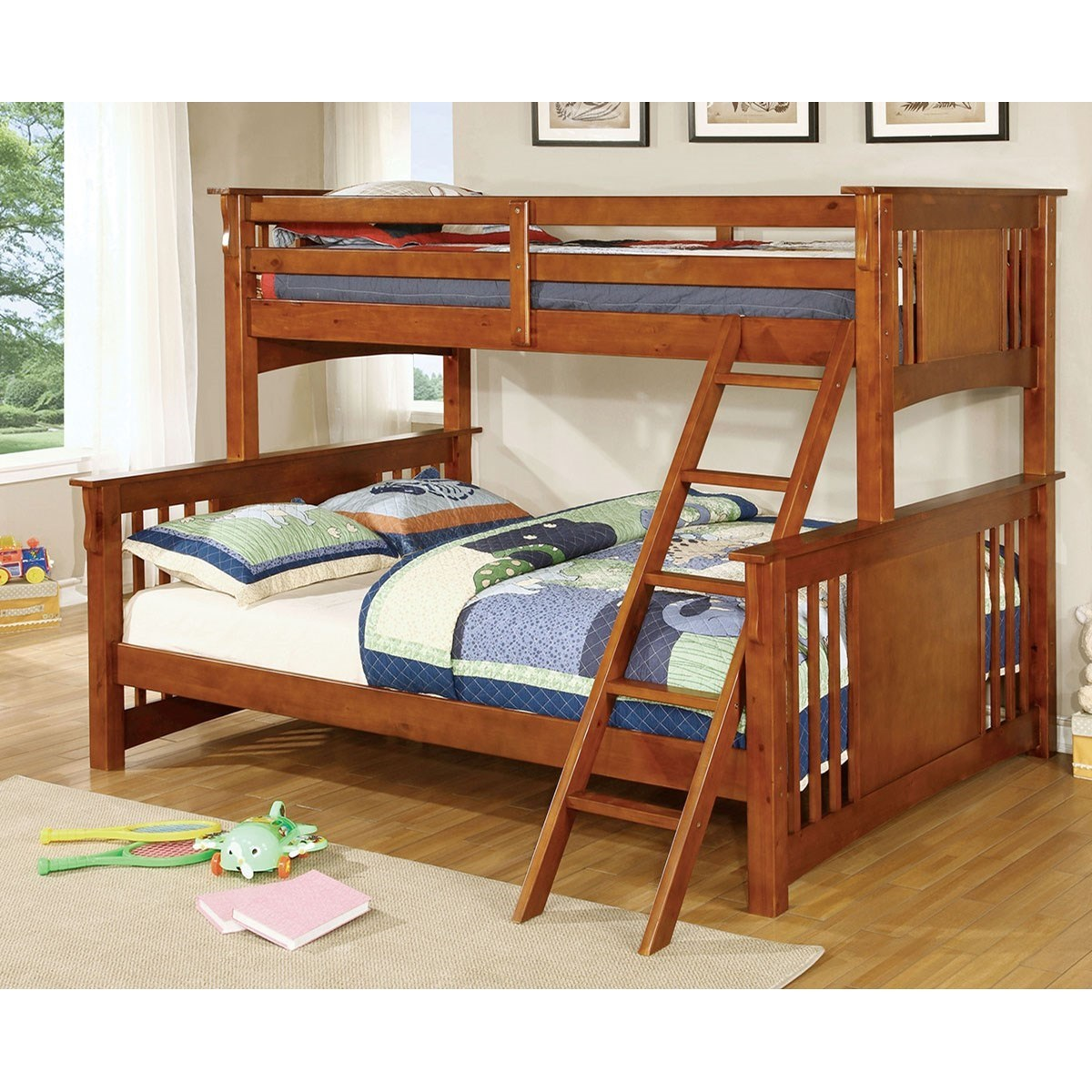 Furniture Of America Spring Creek Cm Bk604oak Bed Extra Large Twin Over Queen Size Youth Bedroom Bunk Bed Corner Furniture Bunk Beds