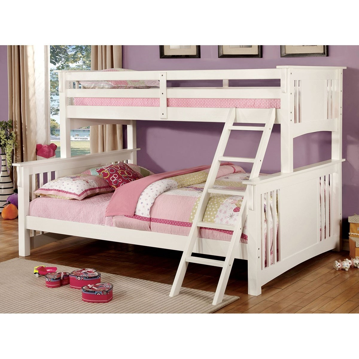 Picture of: Furniture Of America Foa Spring Creek Cm Bk604wh Bed Extra Large Twin Over Queen Size Youth Bedroom Bunk Bed Del Sol Furniture Bunk Beds