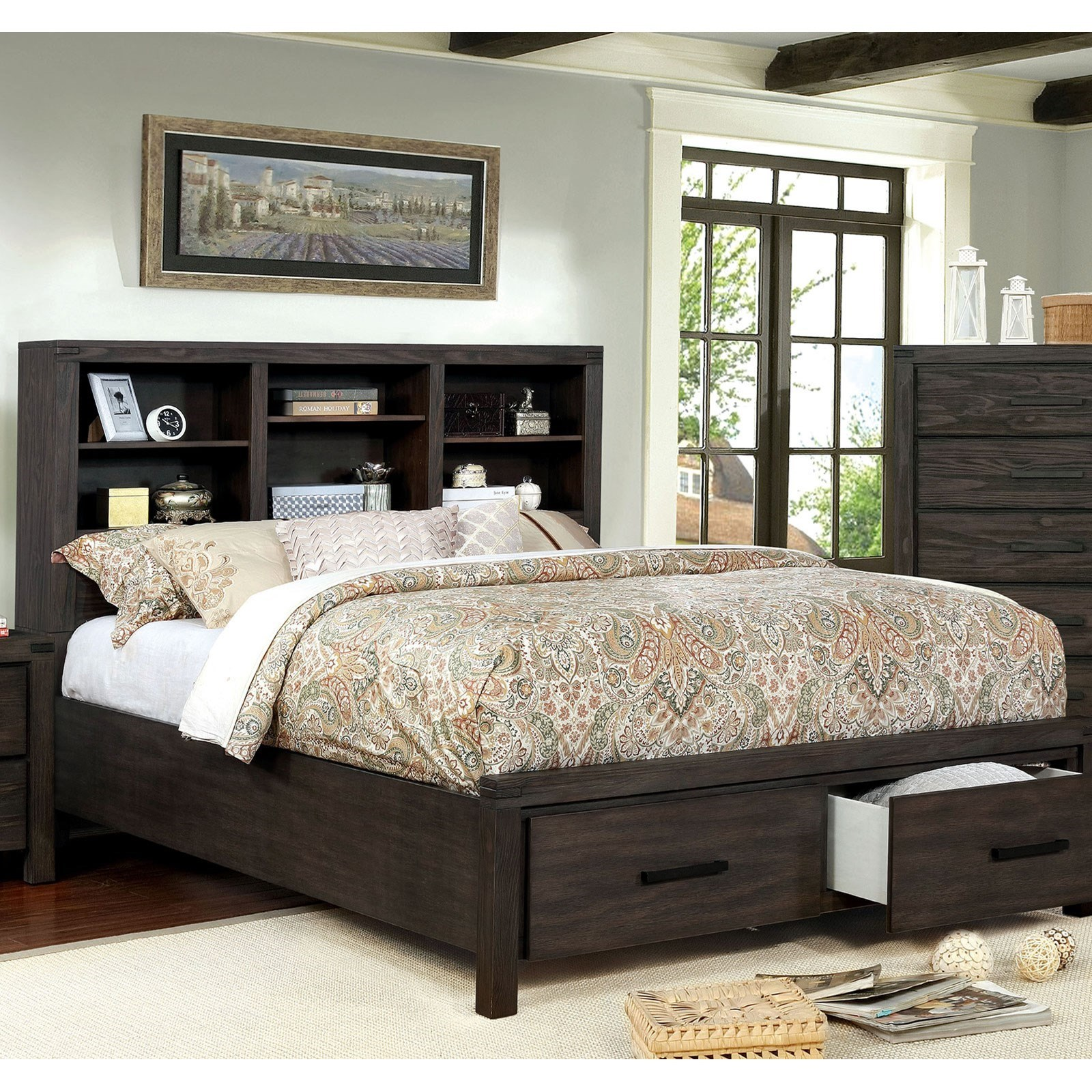 Furniture Of America Strasburg Cm7384br Ck Bed Rustic California King 2 Drawer Storage Bed With Open Bookcase Headboard Corner Furniture Panel Beds