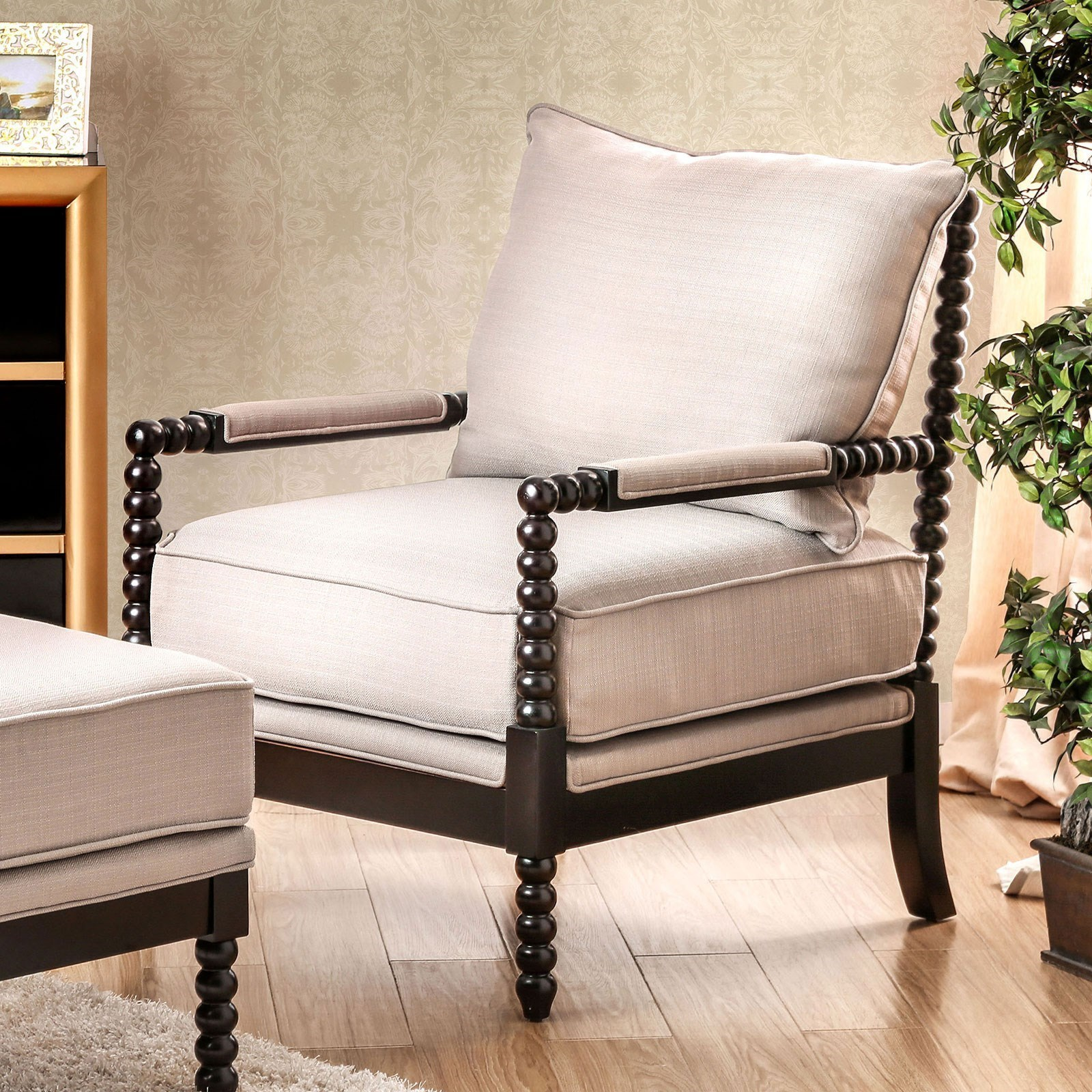 Wondrous Furniture Of America Sybil Cm Ac6140Bg Accent Chair Beige Caraccident5 Cool Chair Designs And Ideas Caraccident5Info