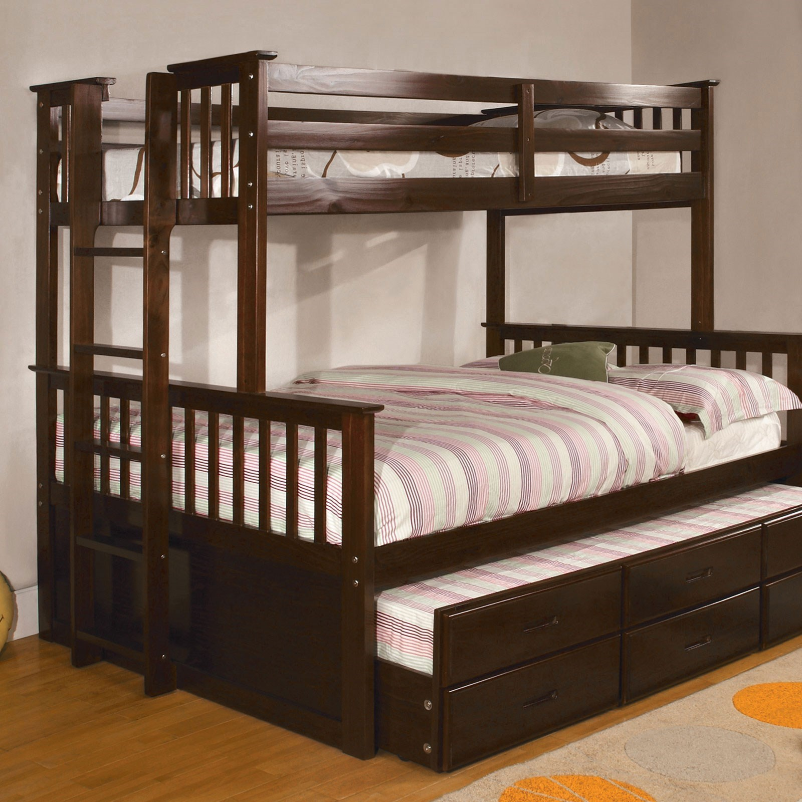 Picture of: Furniture Of America Foa University Cm Bk458f Exp Bed Tr Twin Over Full Bunk Bed And Trundle Del Sol Furniture Bunk Beds