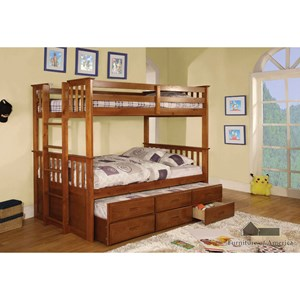 Furniture of America University Twin/Twin Bunk Bed with Trundle