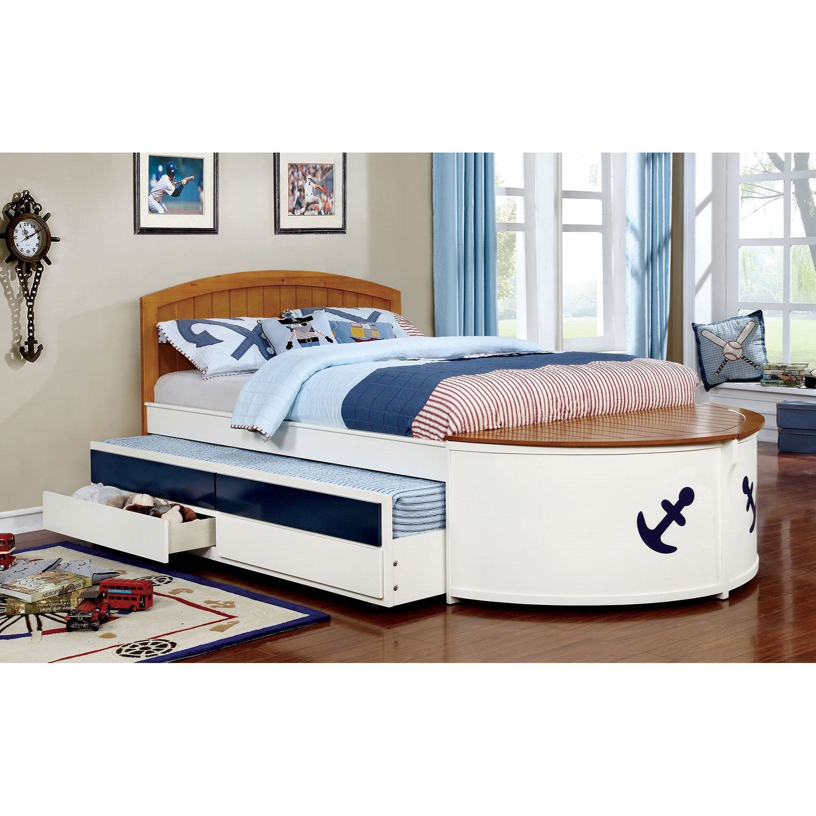 Furniture Of America Voyager Cm7768f Bed Nautical Youth Bedroom Full Size Bed With Trundle And Storage Drawers Corner Furniture Captain S Beds