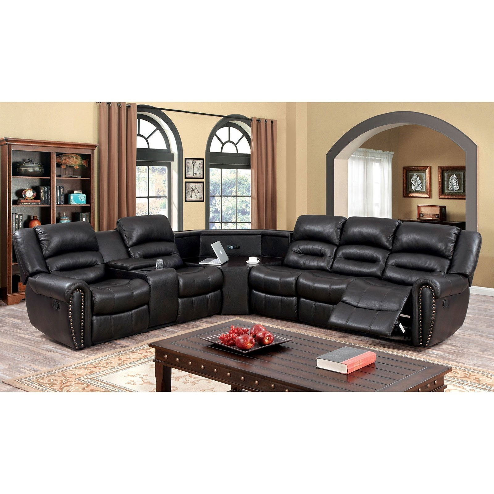 Wales 5 Seat Faux Leather Reclining Sectional Sofa with Nailheads and AC &  USB Charging Ports by Furniture of America at Rooms for Less