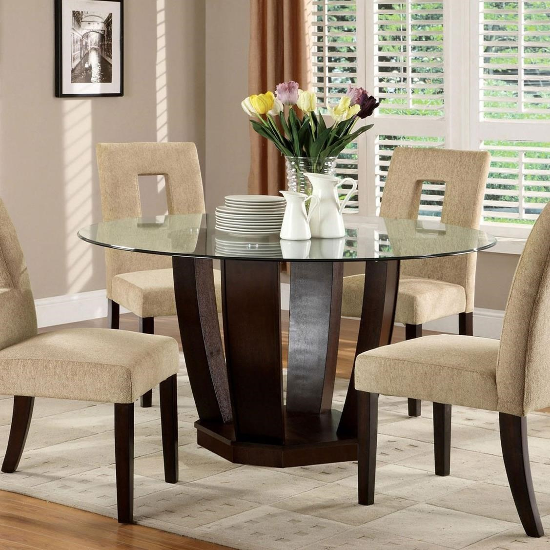 Furniture Of America West Palm Glass Top Round Dining