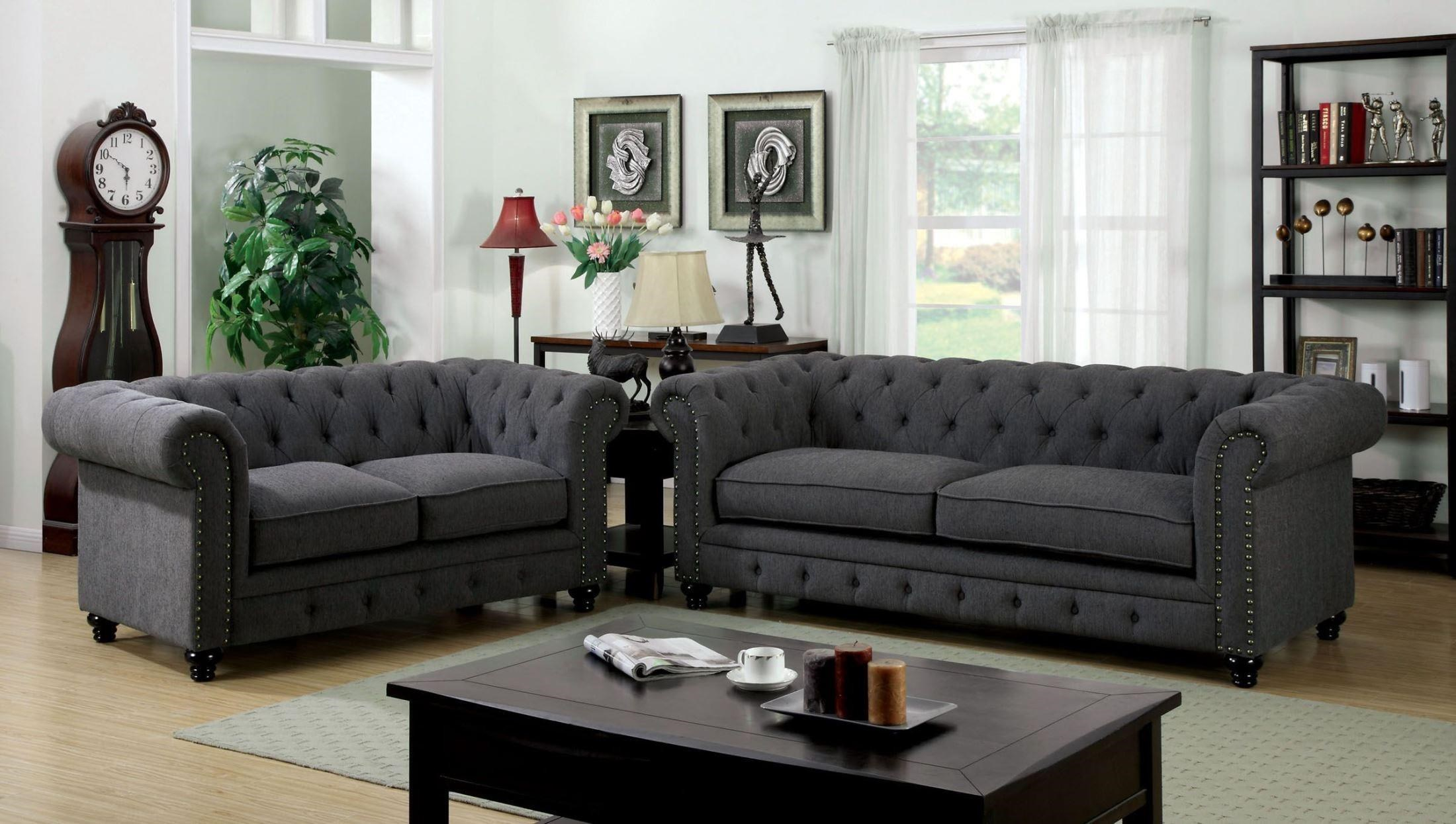 Furniture of America / Import Direct Stanford Sofa & Love Seat - Item Number: CM6269SF+CM6269LV