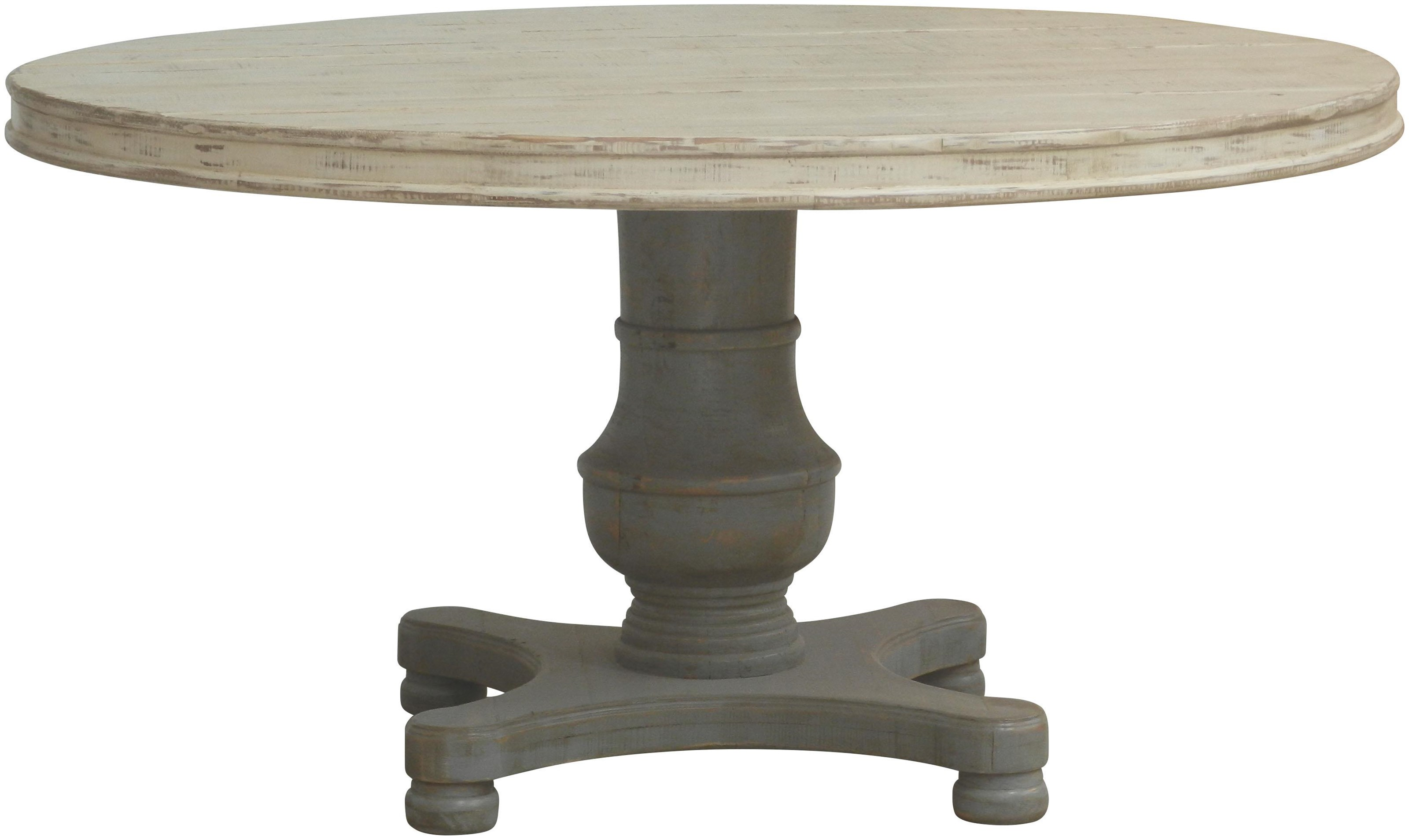 Furniture Source International Accent Pieces Rosslyn Round Dining Table - Item Number: FSI-GV-84TBL-MOSS-BASE ANTCREAM-TOP