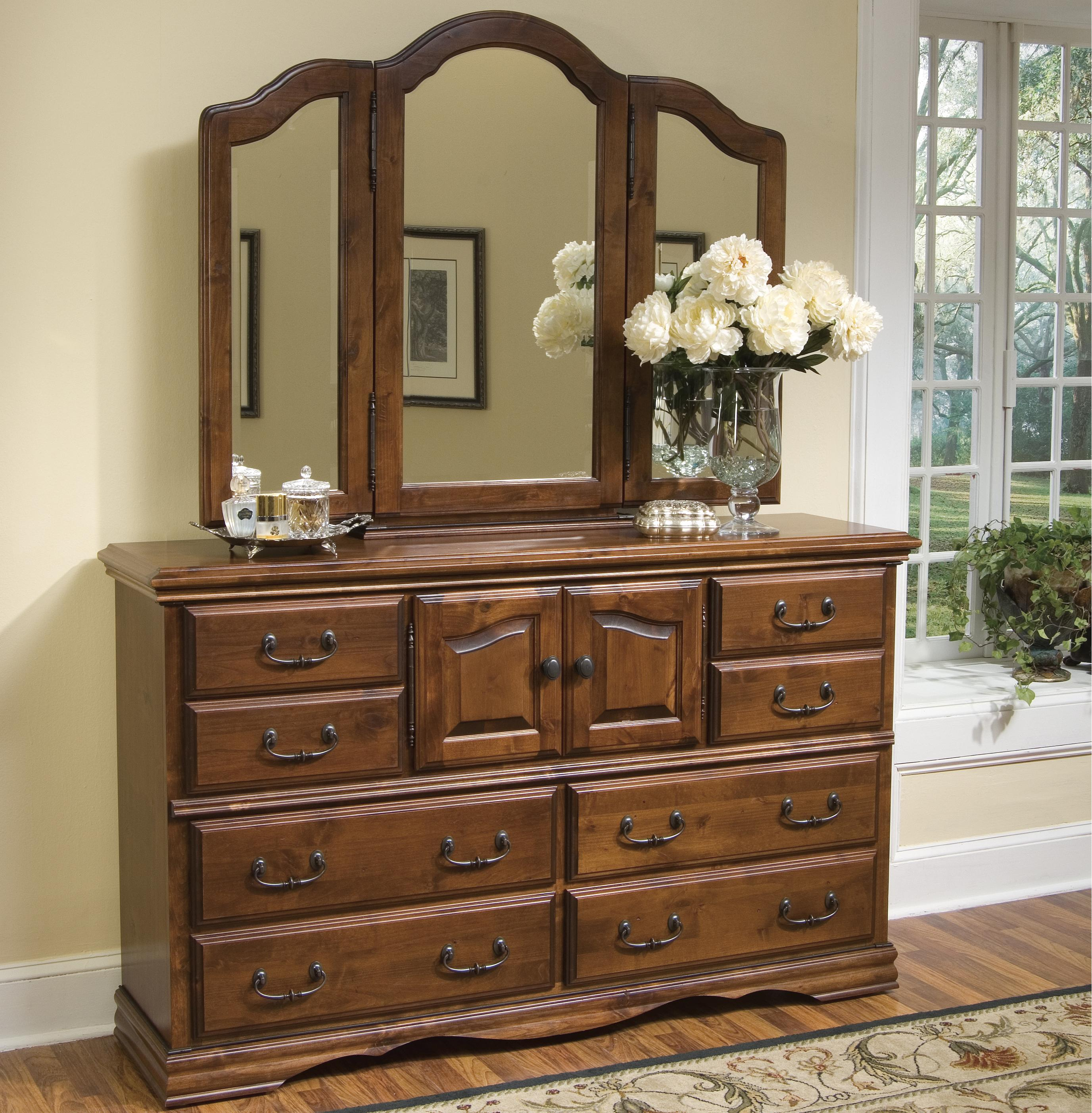 Furniture Traditions Alder Hill Dresser and Mirror Combo - Item Number: A2000+A3500