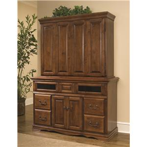 Furniture Traditions Alder Hill TV Console and Hutch Combo