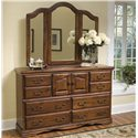 Furniture Traditions Alder Hill Beveled Wing Mirror - Shown with 10-Drawer Dresser